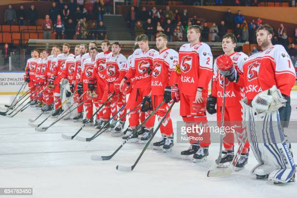 Polish National Ice Hockey Team after an EURO ICE Hockey tournament match Poland vs Ukraine at Spodek Arena in Katowice On Friday 10 February 2017 in...