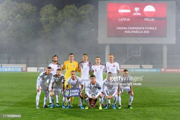 Polish national team group photo during the UEFA Euro 2020 qualifier between Latvia and Poland on October 10, 2019 in Riga, Latvia.