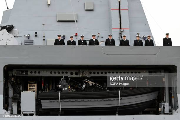 Polish Navy officers are seen on the ORP Slazak ship during the 101st anniversary of the creation of the Polish Navy During the ceremony for the...