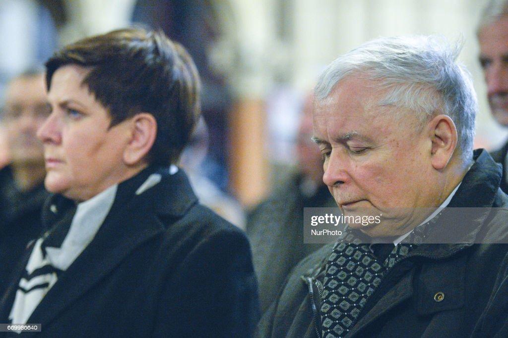 7th Commemoration Mass of President Lech Kaczynski : News Photo