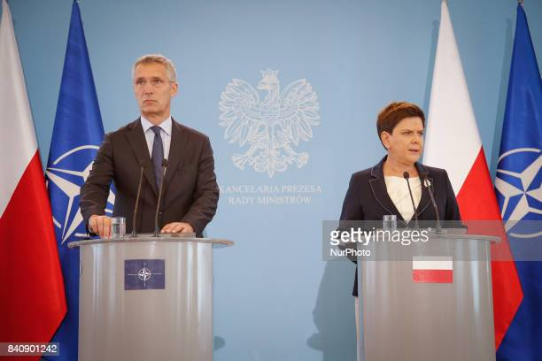 Polish PM Beata Szydlo is seen holding a press conference at the Chancellery with NATO Secretary General Jens Stoltenberg on 25 August 2017 Mister...