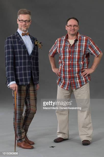Polish poet Jacek Dehnel and Estonian screenwriter Andrei Ivanov attend a photocall during the Edinburgh International Book Festival on August 11...