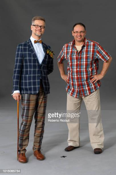 Polish poet writer translator and painter Jacek Dehnel and Estonian screenwriter Andrei Ivanov attend a photocall during the annual Edinburgh...