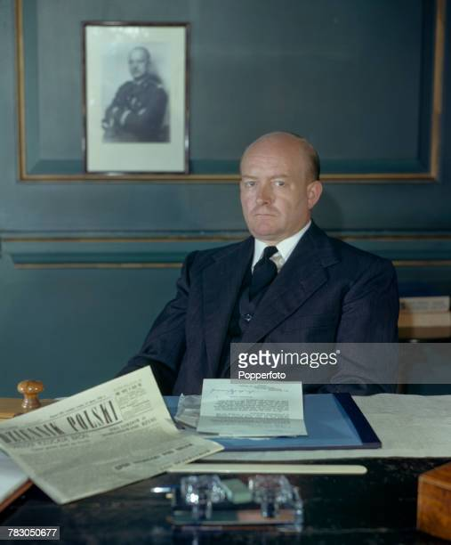 Polish politician and new Prime Minister of the Polish government in exile Stanislaw Mikolajczyk pictured seated at his desk in London in August 1943