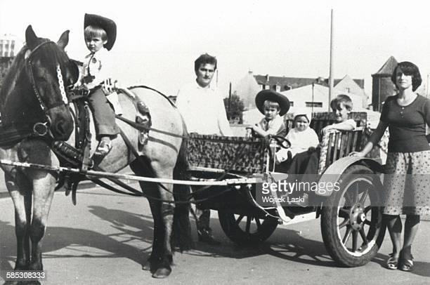 Polish politician and tradeunion organizer Lech Walesa on holiday in Poland with his wife Danuta and their sons Przemyslaw Bogdan Slawomir and...