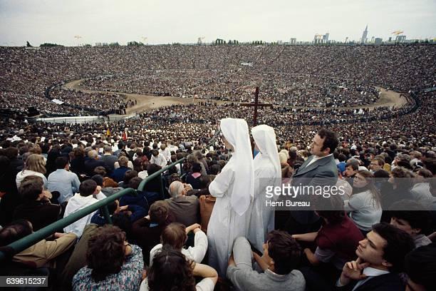 Polish Pope John Paul II gives a mass at Stadion Dziesieciolecia aka Stadion Xlecia in Warsaw