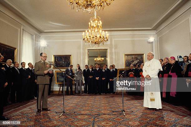 Polish Pope John Paul II meets Polish military officer Communist politician and Prime Minister of the People's Republic of Poland General Wojciech...