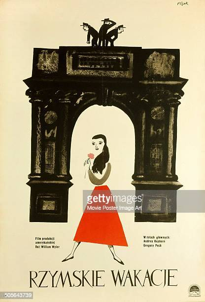 A Polish poster for the Paramount Pictures movie 'Roman Holiday' titled 'Rzymskie wakacje' 1953