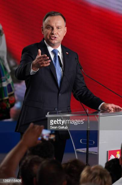 Polish President and member of the right-wing Law and Justice party, Andrzej Duda speaks to supporters following initial results in the Polish...