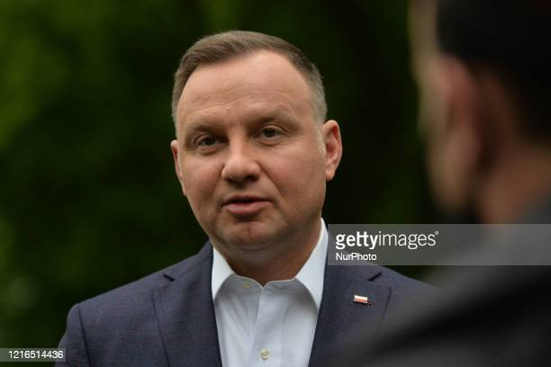 Polish President Andrzej Duda addresses media after laying a wreath at Wincenty Witos monument in Jordan Park, in Krakow. Wincenty Witos , was a...