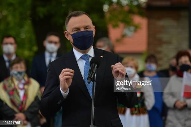 Polish President Andrzej Duda addresses the media during his visit to AlwerniaOn May 27 in Alwernia County Chrzanow Lesser Poland Voivodeship Poland