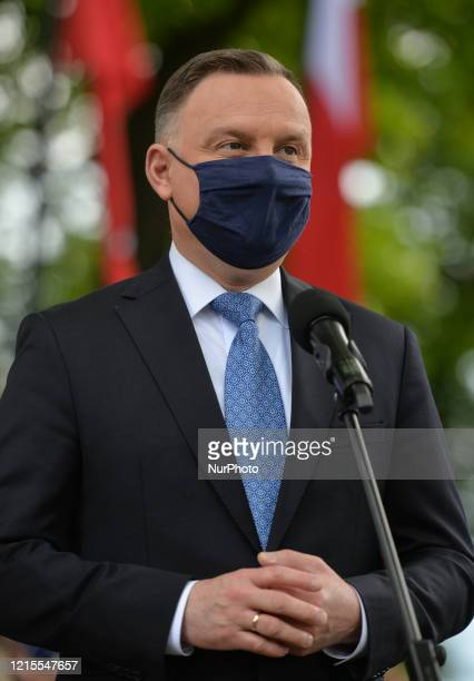 Polish President Andrzej Duda addresses the media during his visit to Alwernia On May 27 in Alwernia County Chrzanow Lesser Poland Voivodeship Poland