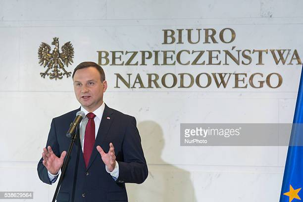 Polish President Andrzej Duda after National Security Council meeting at National Security Bureau's Headquarters on 07 June 2016 in Warsaw Poland