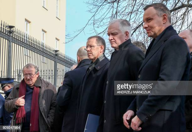 Polish President Andrzej Duda and Adam Michnik former oppositionist and chief editor of Gazeta Wyborcza attend a ceremony marking the 50th...