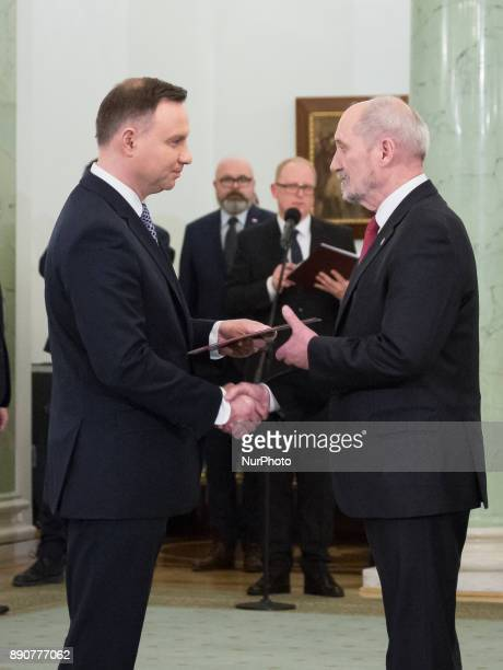 Polish President Andrzej Duda and Antoni Macierewicz during the new Polish Government appointment ceremony in Presidential Palace in Warsaw Poland on...