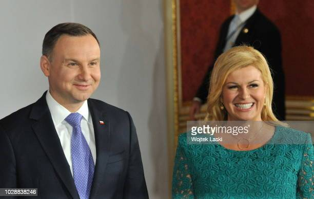 Polish President Andrzej Duda and Croatian President Kolinda GrabarKitarovic during Three Seas Initiative Summit at Warsaw Royal Castle Poland on...
