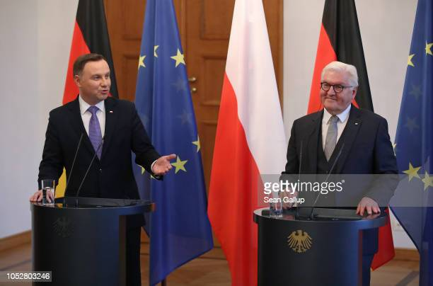 Polish President Andrzej Duda and German President Frank-Walter Steinmeier speak to media following talks at Schloss Bellevue presidential palace on...