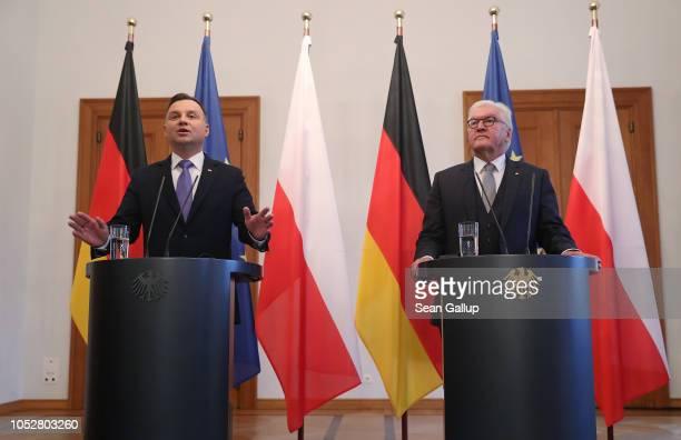 Polish President Andrzej Duda and German President FrankWalter Steinmeier speak to media following talks at Schloss Bellevue presidential palace on...