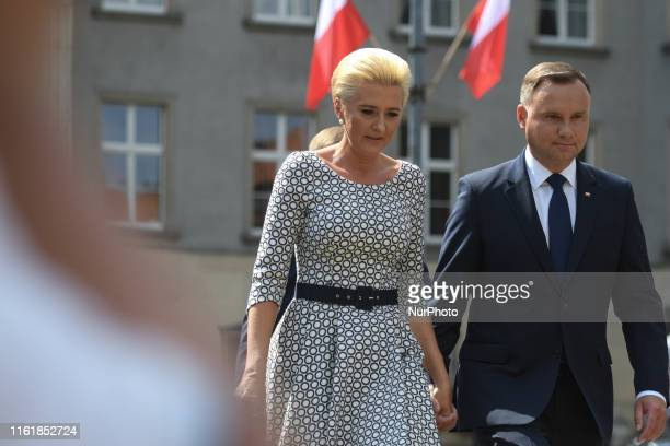 Polish President Andrzej Duda and his wife Agata Kornhauser-Duda arrive ahead of the official ceremony where President Duda handed the general and...
