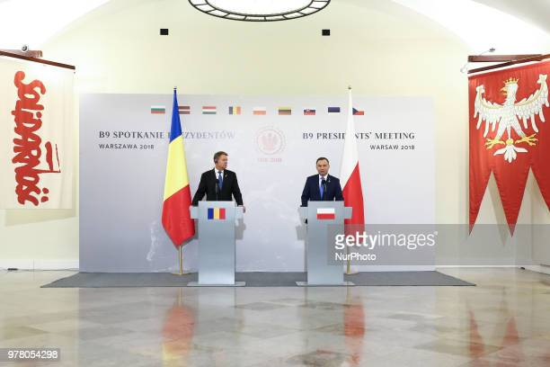 Polish President Andrzej Duda and President of Romania Klaus Iohannis at a press conference during the meeting of Bucharest Nine at the Presidential...