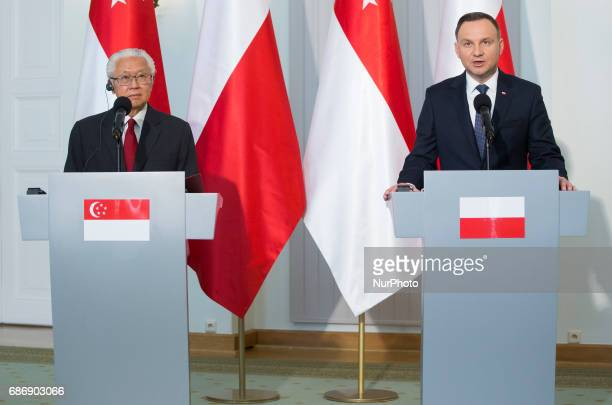 Polish President Andrzej Duda and President of Singapore Tony Tan Keng Yam during media statements, after Singapore President visit in Poland. 22 May...
