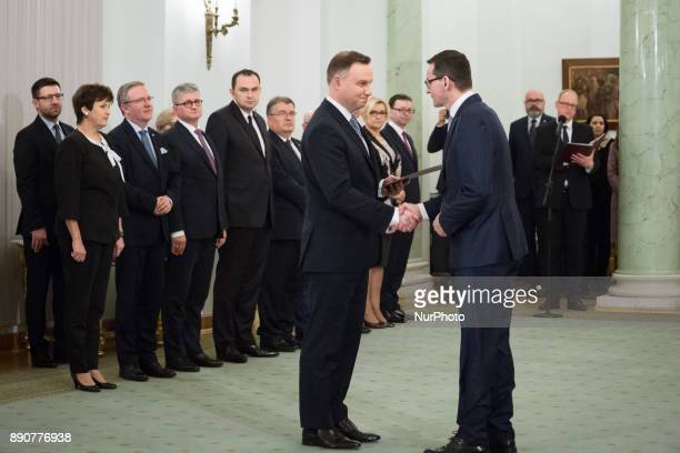Polish President Andrzej Duda and Prime Minister Mateusz Morawiecki during the new Polish Government appointment ceremony in Presidential Palace in...