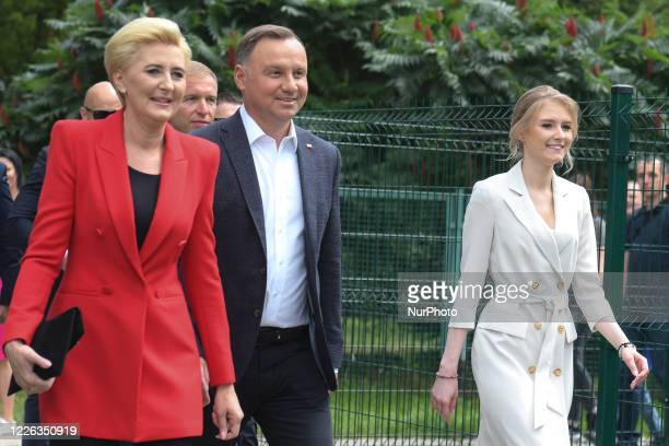 Polish President Andrzej Duda and the First Lady Agata Kornhauser-Duda, arrive to cast their votes in the second round of the Presidential Election...