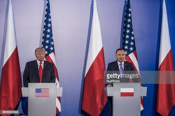 Polish President Andrzej Duda and US President Donald Trump hold a joint press conference at the Royal Castle in Warsaw Poland July 6 2017