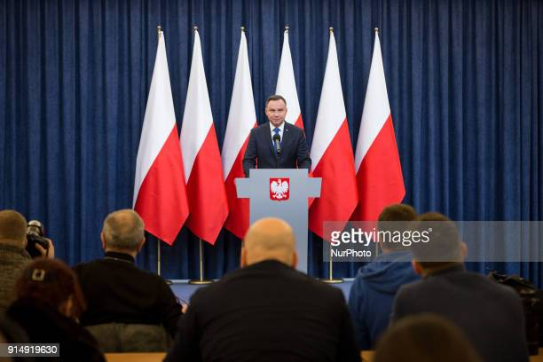 Polish President Andrzej Duda announces his decision to sign a legislation penalizing certain statements about the Holocaust at Presidential Palace...