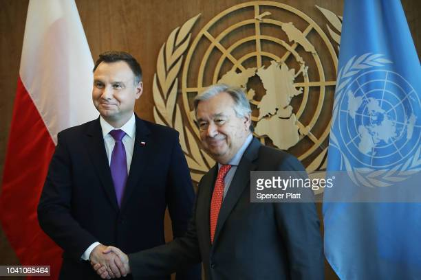 Polish President Andrzej Duda attends a meeting with Antonio Guterres the SecretaryGeneral of the United Nations during the 73rd United Nations...