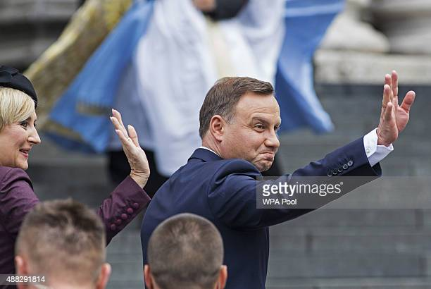 Polish President Andrzej Duda attends a service to mark the 75th anniversary of the Battle of Britain at St Paul's Cathedral on September 15 2015 in...