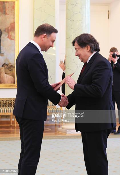 Polish President Andrzej Duda congratulates Marek ZirkSadowski on his new appointment as head of the Supreme Administrative Court Polish President...
