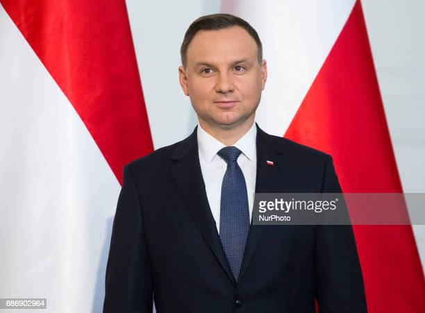 Polish President Andrzej Duda during media statements, after Singapore President visit in Poland. 22 May Warsaw, Poland