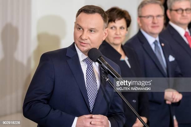 Polish President Andrzej Duda gives a speech on January 9 2018 during an investiture ceremony at the presidential palace in Warsaw following a...