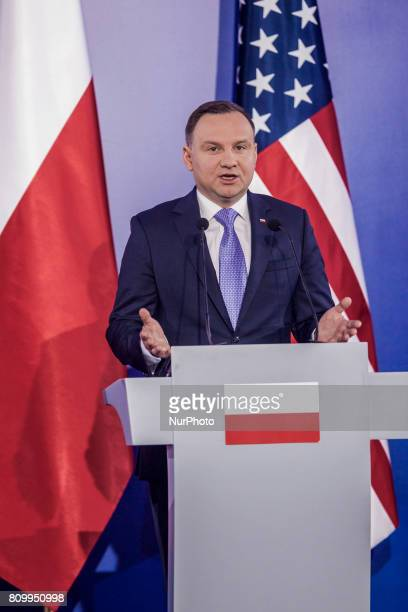 Polish President Andrzej Duda holds a joint press conference with his US counterpart at the Royal Castle in Warsaw Poland July 6 2017