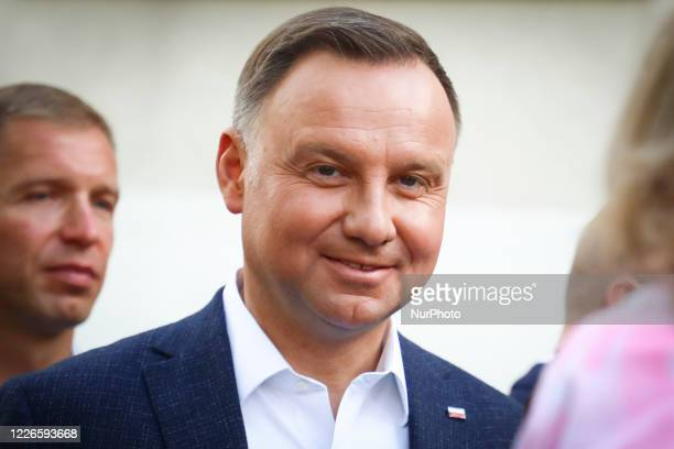 Polish President, Andrzej Duda is portrait after casting his ballot during Poland's Presidential elections runoff on July 12, 2020 in Krakow, Poland....