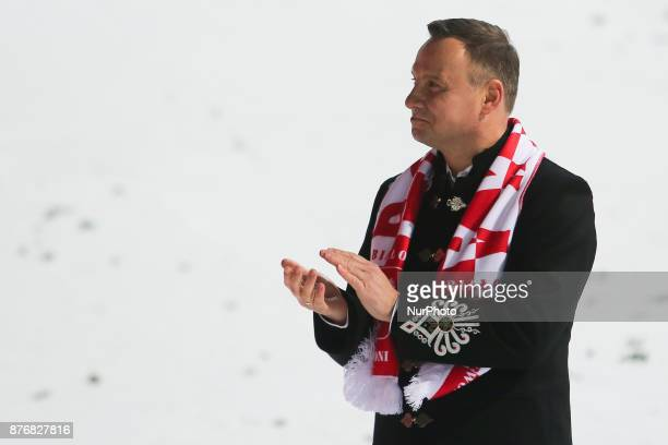 Polish President Andrzej Duda is seen during the individual competition during the FIS Ski Jumping World Cup on November 19 2017 in Wisla Poland