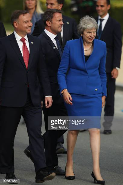 Polish President Andrzej Duda Luxembourg Prime Minister Xavier Bettel and British Prime Minister Theresa May attend the evening reception and dinner...