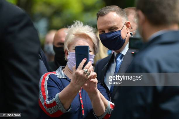 Polish President Andrzej Duda poses for a selfie during his visit to Alwernia On May 27 in Alwernia County Chrzanow Lesser Poland Voivodeship Poland