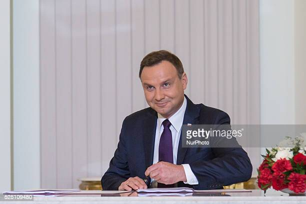 Polish President Andrzej Duda signed the new project of retirement age statute in Presidential Palace on September 21 2015 in Warsaw Poland