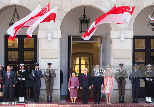 Polish President Andrzej Duda with his wife Agata Kornhauser-Duda and President of Singapore Tony Tan Keng Yam and his wife Mary Chee Bee Kiang...