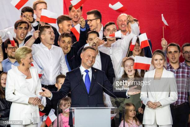 Polish President backed by the right-wing Law and Justice party , Andrzej Duda and his wife, Agata Kornhauser Duda and daughter Kinga Duda celebrate...