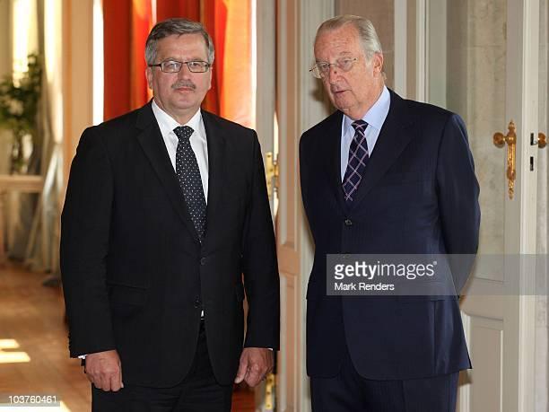 Polish President Bronislaw Komorowski and King Albert II of Belgium pose prior to their meeting at Laeken Castle on September 1 2010 in Brussels...