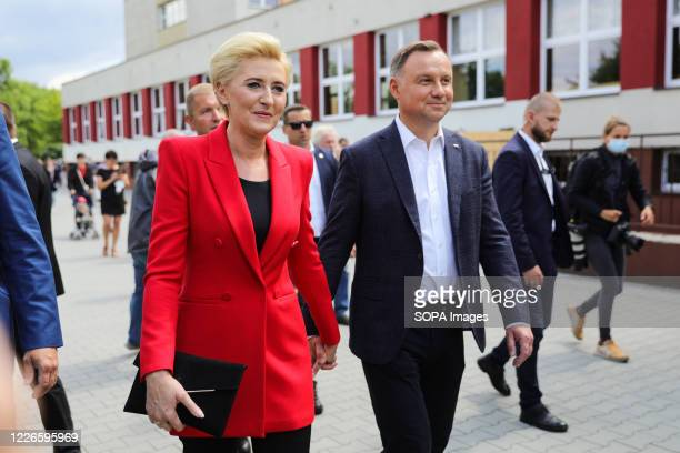 Polish presidential couple Andrzej Duda and Agata KornhauserDuda seen after voting The incumbent President of Poland Andrzej Duda with Poland's First...