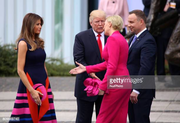 Polish President's wife Agata Kornhauser-Duda leaves Donald Trump hand on 06 July, 2017 in Warsaw, Poland. US President Donald Trump is on his first...