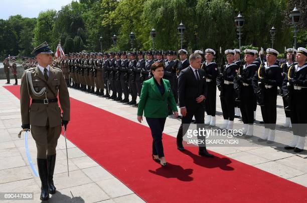 Polish Prime Minister Beata Szydlo and Slovak Prime Minister Robert Fico inspect a military honor guard during a welcoming ceremony at the Palace on...