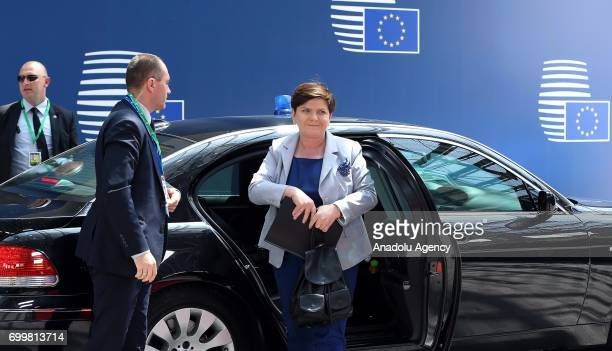 Polish Prime Minister Beata Szydlo arrives at the Europa building to attend the European Union leaders summit in Brussels, Belgium, on Thursday, June...