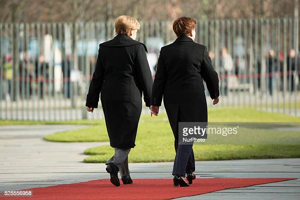 Polish Prime Minister Beata Szydlo is received with military honors from German Chancellor Angela Merkel in the Chancellery in Berlin, Germany on...