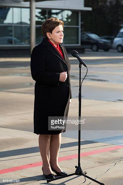Polish Prime Minister Beata Szydlo press conference before flight to Brussels at Okecie Military Airport on November 29, 2015 in Warsaw, Poland.