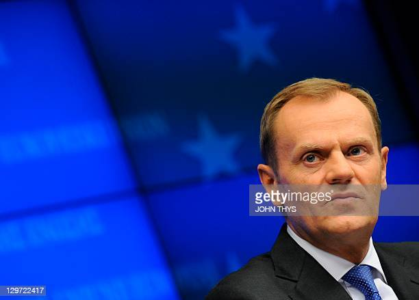 Polish Prime Minister Donald Tusk gives a joint press after a bilateral meeting with the European Union President on October 20, 2011 at the EU...